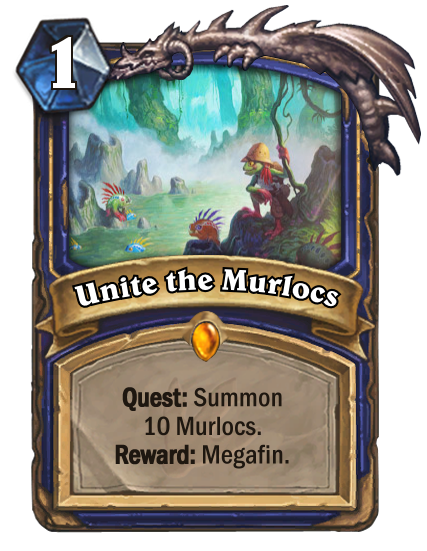 """<p>Summoning ten of any one kind of Minion isn't an easy task, particularly in a class that doesn't have the option to run <a href=""""https://hydra-media.cursecdn.com/hearthstone.gamepedia.com/f/f5/Vilefin_Inquisitor%2833158%29.png?version=09e90ad18132a44aa618b348317a35f0"""" rel=""""nofollow noopener"""" target=""""_blank"""" data-ylk=""""slk:Vilefin Inquisitor"""" class=""""link rapid-noclick-resp"""">Vilefin Inquisitor</a>. However, if you manage to complete the Quest, Megafin is one hell of a Murloc powerhouse. </p>"""