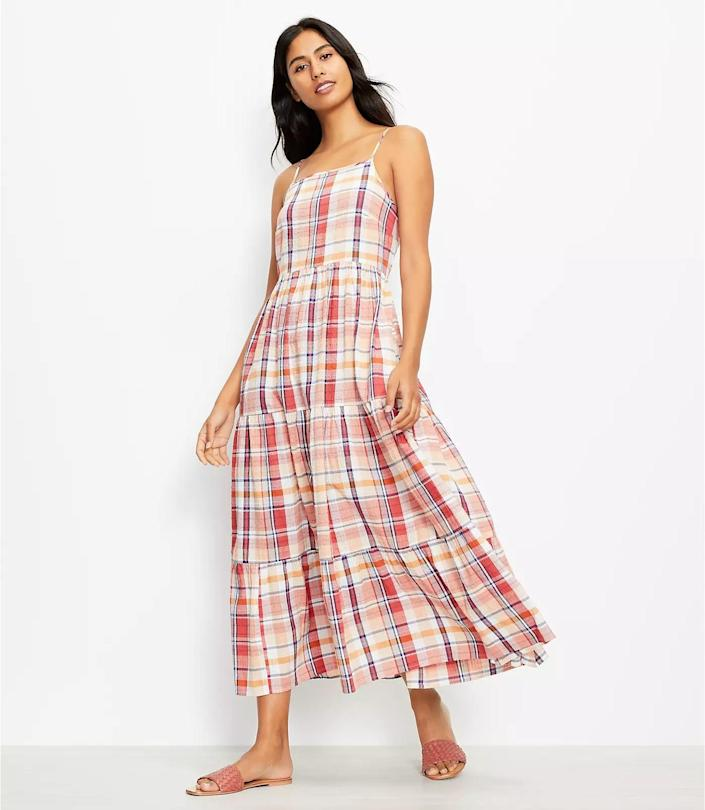 <p>This <span>Lou &amp; Grey Plaid Pocket Maxi Dress</span> ($90, plus 40 percent off with code WOW) features side pockets that will come in handy for those long days out and about. From the square neck to the plaid style, everything about it feels feminine and fun.</p>