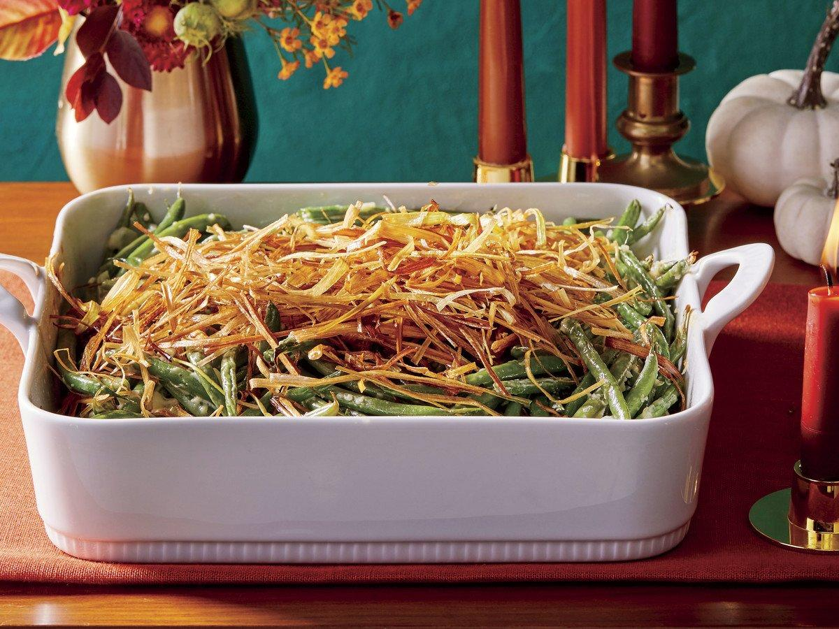 """<p>You might have a go-to green bean casserole recipe, but you have to try this one. These thin, crispy fried leeks are an absolutely delicious <a href=""""https://www.southernliving.com/food/classic-southern-comfort-food-casserole-recipes"""">casserole</a> topper and look way more elegant than the canned fried onions. The <a href=""""https://www.southernliving.com/plants/leek"""">leeks</a> fry up very quickly; keep a close watch on them as they cook.</p> <p><a href=""""https://www.myrecipes.com/recipe/homemade-green-bean-casserole-with-leeks"""">Homemade Green Bean Casserole with Crispy Leeks Recipe</a></p>"""