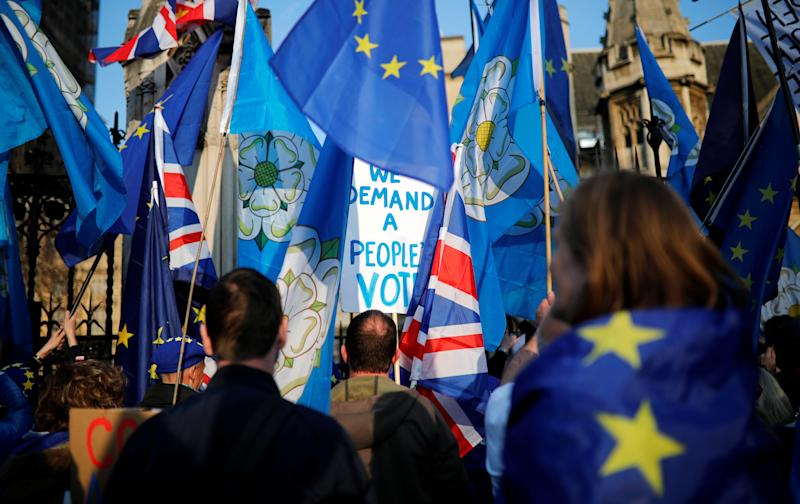 Anti-Brexit supporters protest outside the Houses of Parliament in London, Britain, April 1, 2019. REUTERS/Alkis Konstantinidis