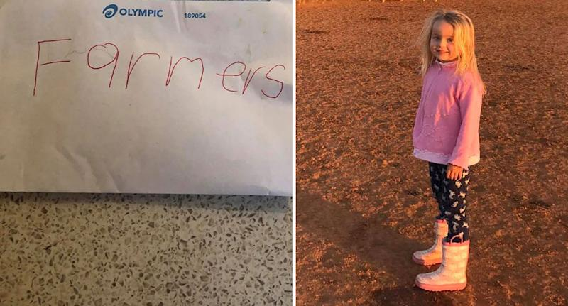 Six-year-old girl Ella pictured with envelope containing sweet letter to farmers in NSW.