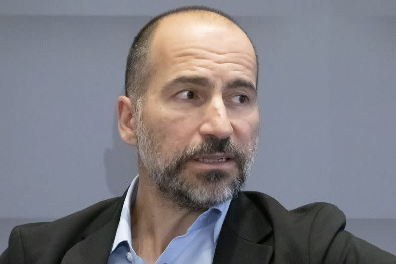 FILE PHOTO: Uber CEO Dara Khosrowshahi speaks during a meeting with the Economic Club of New York in New York City