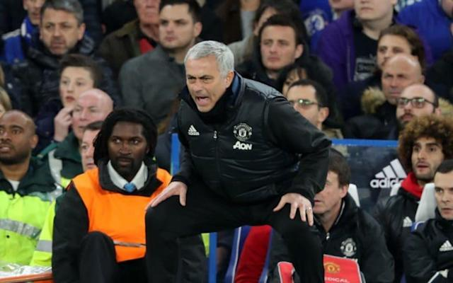 <span>Jose Mourinho during the FA Cup quarter-final match at Stamford Bridge earlier this week</span> <span>Credit: BPI/REX/Shutterstock </span>