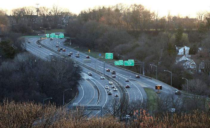 A normally packed parkway in Yonkers, New York, carries very light traffic on Monday at 7:25 a.m. ET.