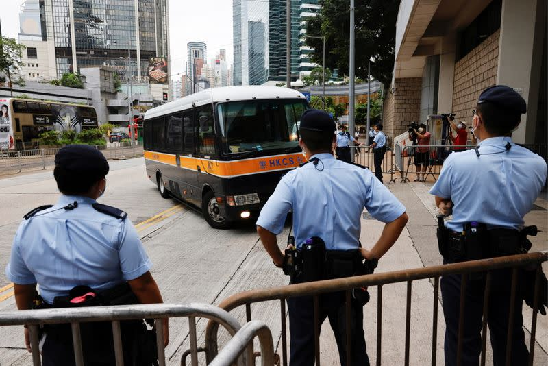A prison van arrives High Court on the first day of trial of Tong Ying-kit, the first person charged under a new national security law, in Hong Kong