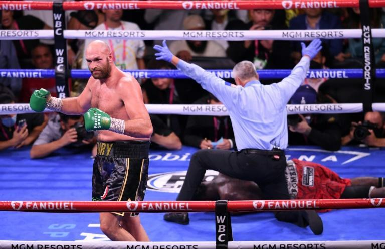 WBC heavyweight champion Tyson Fury celebrates his 11th-round knockout victory over US challenger Deontay Wilder in Las Vegas (AFP/Robyn Beck)