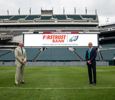 Richard J. Green, Chairman and CEO of Firstrust Bank (left) with Don Smolenski, Philadelphia Eagles President (right) at Lincoln Financial Field.