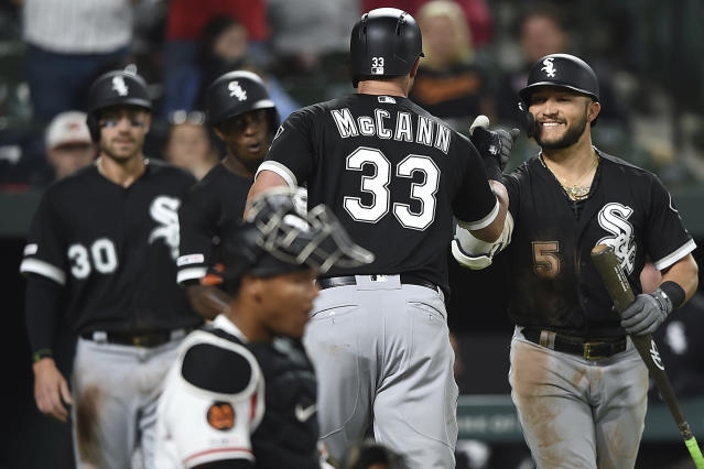 Chicago White Sox's James McCann, center, is congratulated by Yolmer Sanchez after hitting a three-run home run against the Baltimore Orioles in the fourth inning of a baseball game, Monday, April 22, 2019, in Baltimore. (AP Photo/Gail Burton)