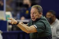 Michigan State head coach Tom Izzo watches from the sideline during the first half of an NCAA college basketball game against Michigan, Thursday, March 4, 2021, in Ann Arbor, Mich. (AP Photo/Carlos Osorio)
