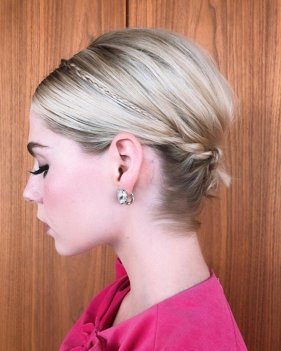 If you have serious hair skills, try this pretty '60s-inspired updo. The volume has a classic feel, but the braided elements make it feel fresh.