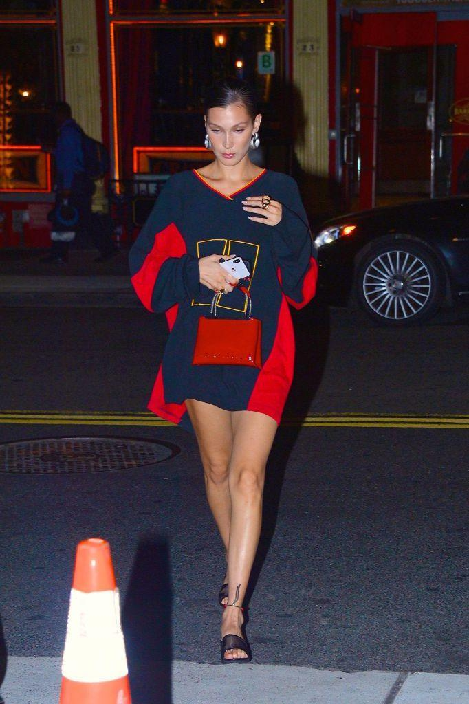 <p>The model wore oversized Tommy Hilfiger whilst out and about in New York in August 2018.</p>