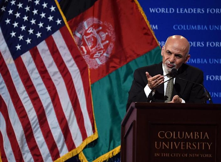 Afghanistan's President Ashraf Ghani speaks at Columbia University in New York, on his first trip to the US, on March 26, 2015 (AFP Photo/Timothy A. Clary)