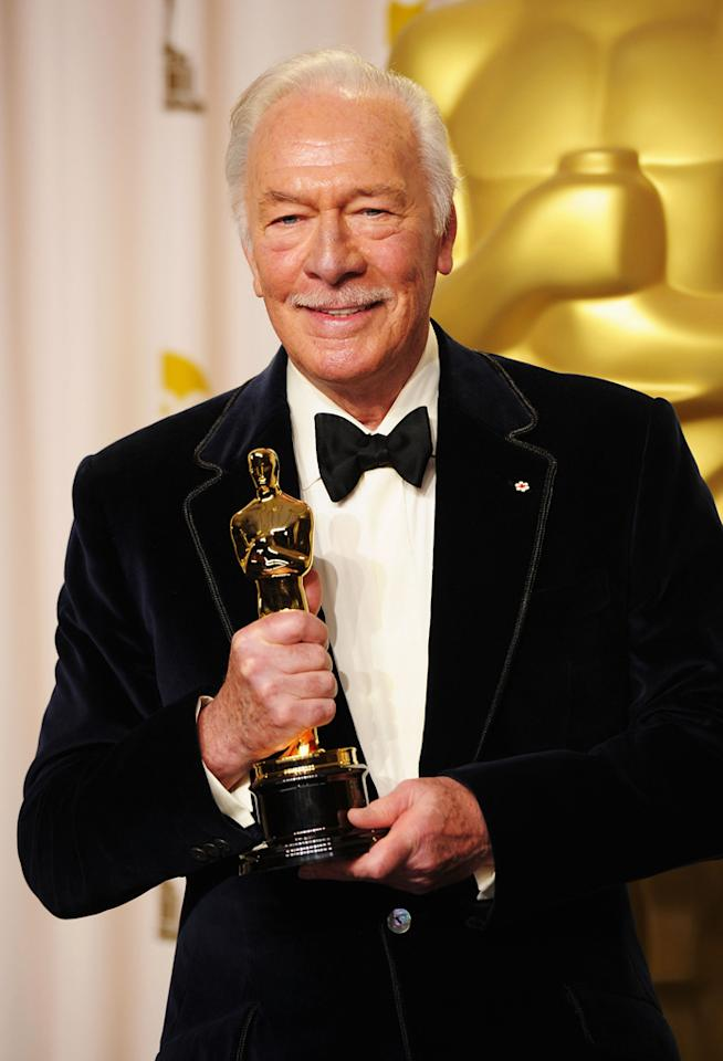Christopher Plummer, winner of the Best Supporting Actor Award for 'Beginners,' poses in the press room at the 84th Annual Academy Awards held at the Hollywood & Highland Center on February 26, 2012 in Hollywood, California.