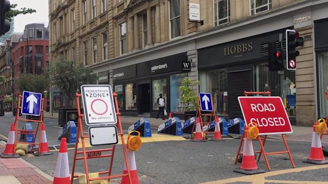 Deansgate during the Covid-19 lockdown: Manchester is creating new spaces for cycling and walking