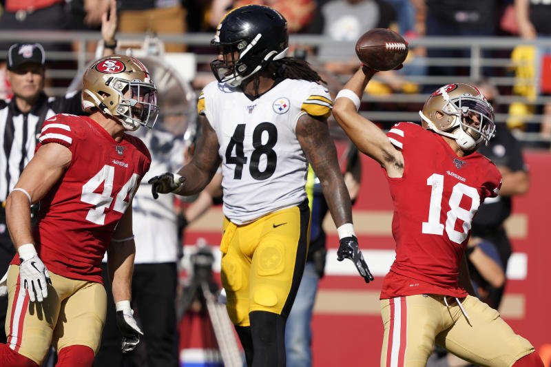 cheap for discount c453b a231e Sloppy 49ers beat Steelers 24-20 on late Garoppolo TD pass