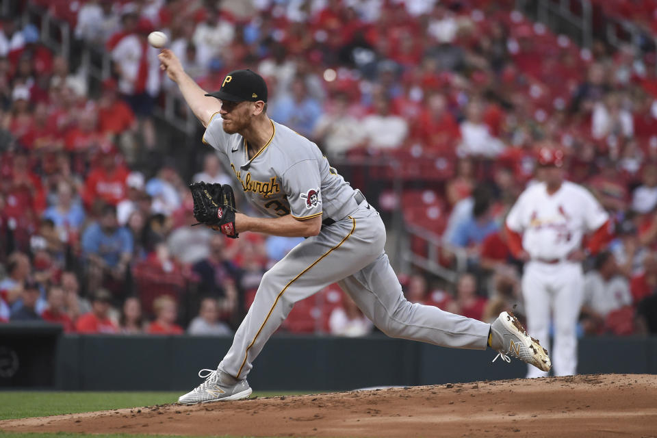 Pittsburgh Pirates starting pitcher Chad Kuhl throws during the first inning of a baseball game against the St. Louis Cardinals Thursday, June 24, 2021, in St. Louis. (AP Photo/Joe Puetz)