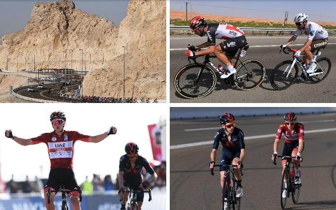 Action from stage three at the UAE Tour — Tadej Pogacar jumps Adam Yates on Jebel Hafeet to extend his lead at the UAE Tour - GETTY IMAGES