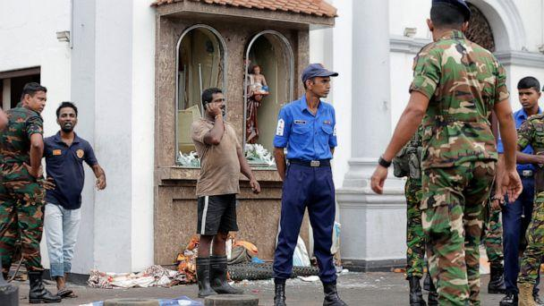 PHOTO: People gather outside St. Anthony's Shrine where a blast happened, in Colombo, Sri Lanka, Sunday, April 21, 2019. A Sri Lanka hospital spokesman says several blasts on Easter Sunday have killed dozens of people. (AP Photo/Eranga Jayawardena)