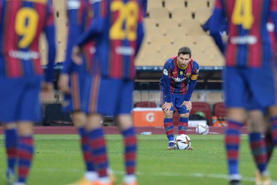 <p>Messi saw red for the first time in his 753-game Barca career</p> (AFP via Getty Images)