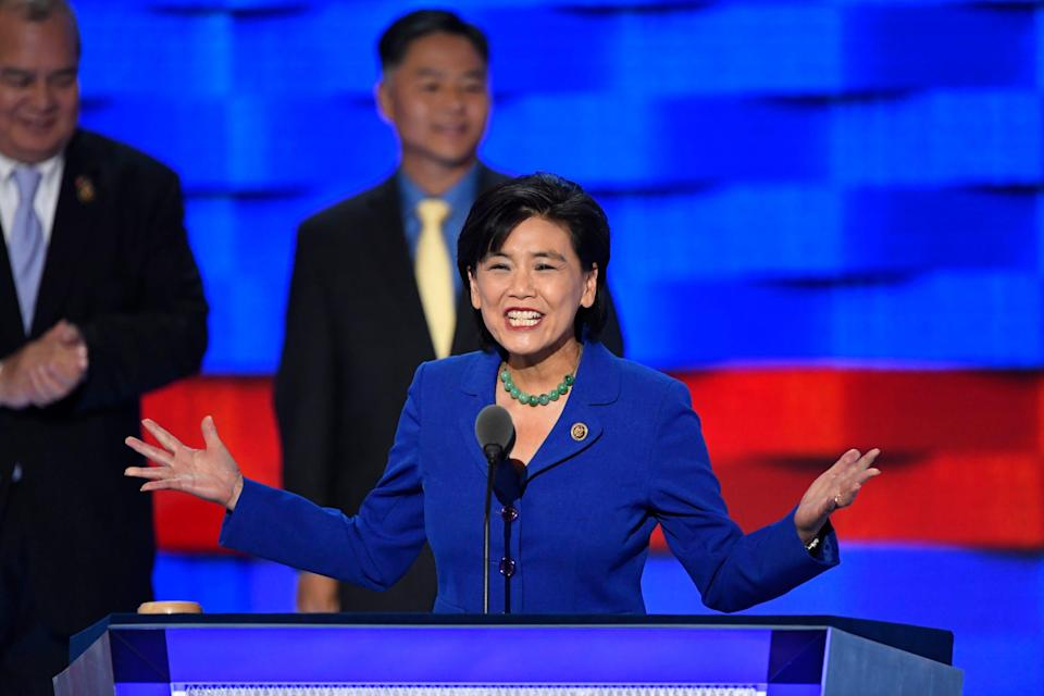 U.S. Rep. Judy Chu, D-Calif., speaks as she stands with fellow Asian American and Pacific Islander members of Congress, during the 2016 Democratic National Convention at Wells Fargo Center.