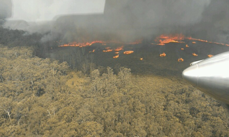 Fires rage in east Gippsland on Sunday.