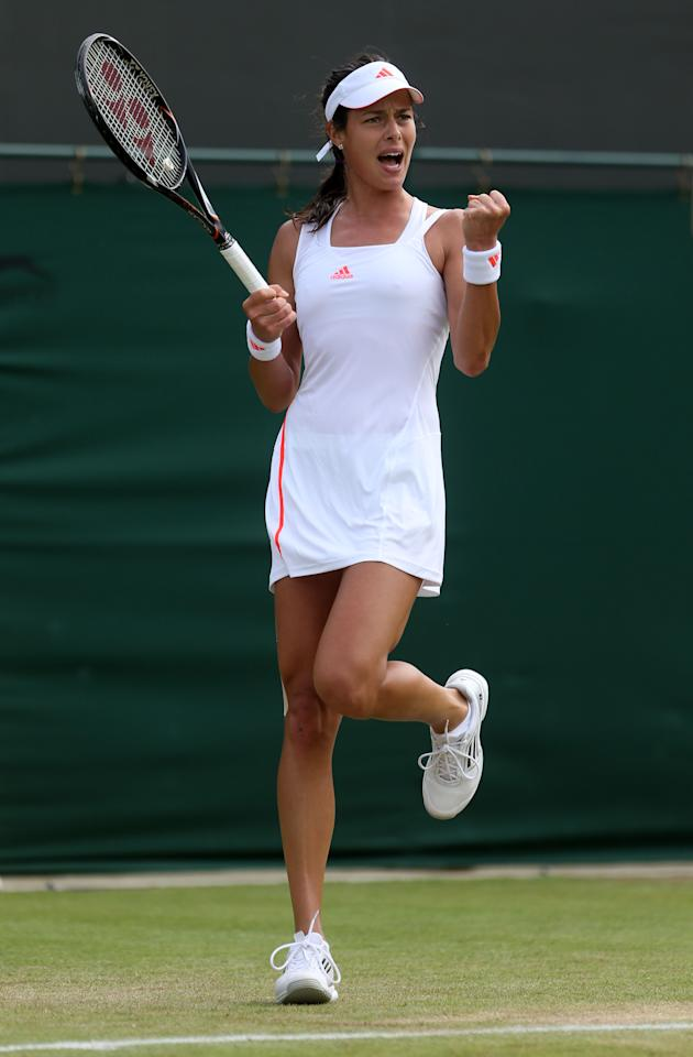 LONDON, ENGLAND - JUNE 28:  Ana Ivanovic  of Serbia reacts during her Ladies' Singles second round match against Kateryna Bondarenko of the Ukraine on day four of the Wimbledon Lawn Tennis Championships at the All England Lawn Tennis and Croquet Club on June 28, 2012 in London, England.  (Photo by Julian Finney/Getty Images)