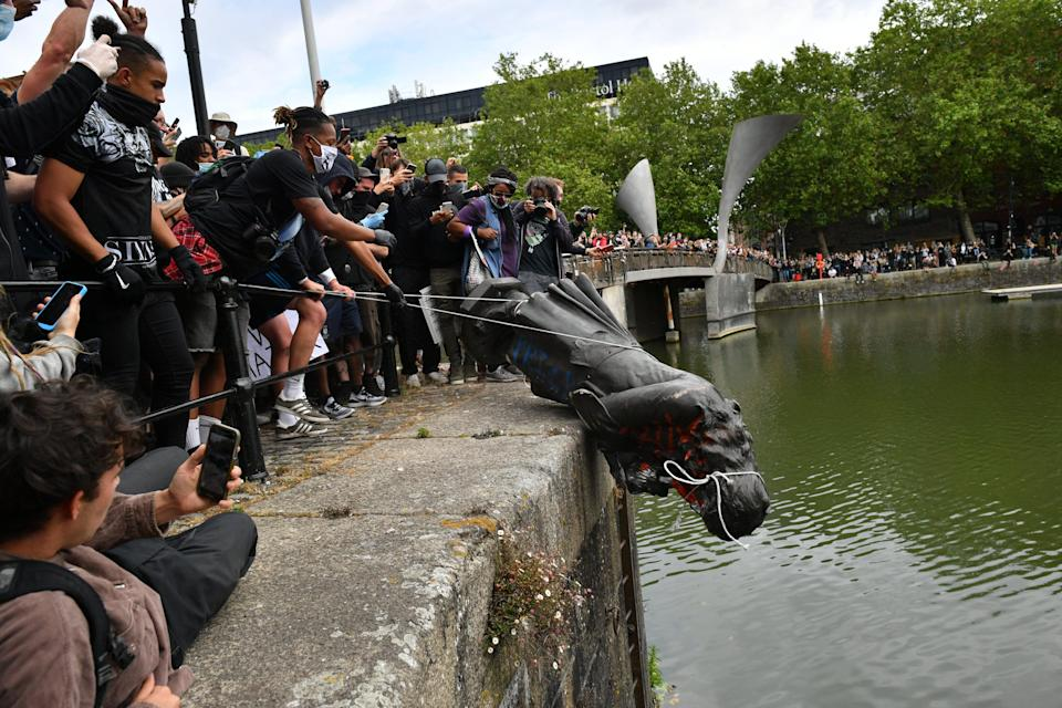 The statue was thrown into Bristol harbour in June 2020 (Ben Birchall/PA) (PA Archive)