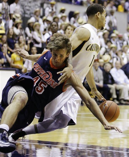 California's Justin Cobbs, right, drives the ball away from Pepperdine's Jett Raines (45) during the first half of an NCAA college basketball game, Tuesday, Nov. 13, 2012, in Berkeley, Calif. (AP Photo/Ben Margot)