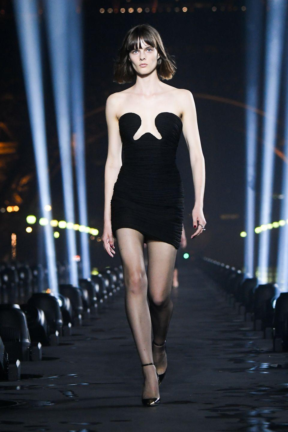 <p>There were a lot of attention-grabbing pieces on Saint Laurent's spring/summer '20 runway, but none more so than this abstract body-con number. </p>