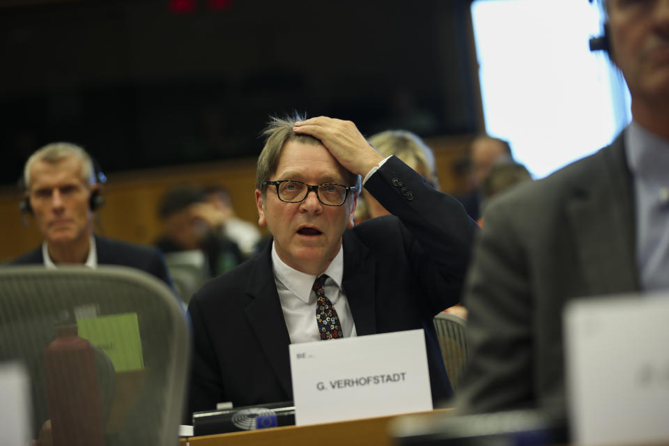 Chair of the Brexit Steering Group Guy Verhofstadt addresses European Parliament members during a meeting debate about Brexit at the European Parliament in Brussels, Tuesday, Nov. 12, 2019. Even though the British government desperately wants to leave the EU, the bloc itself desperately wants a new U.K. Commissioner on its executive team, even if only for a few months. (AP Photo/Francisco Seco)