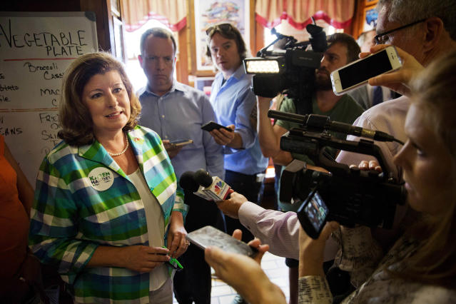 Karen Handel, Republican candidate for Georgia's Sixth Congressional District, talks to reporters during a campaign stop at Old Hickory House in Tucker, Ga., Monday, June 19, 2017. (Photo: David Goldman/AP)