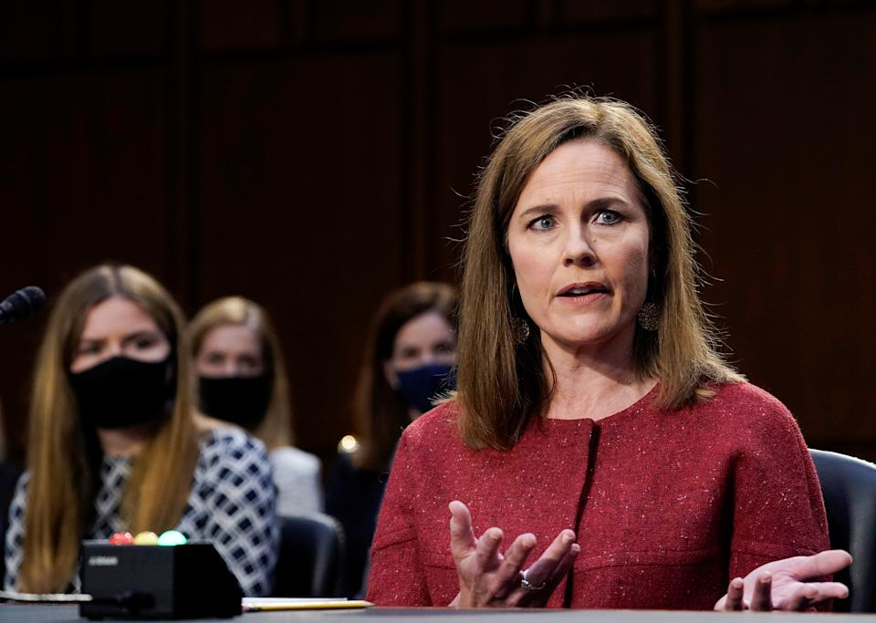 U.S. Supreme Court nominee Judge Amy Coney Barrett participates in the second day of her confirmation hearing before the Senate Judiciary Committee on Capitol Hill in Washington, D.C., U.S., October 13, 2020. (Drew Angerer/Pool via Reuters)