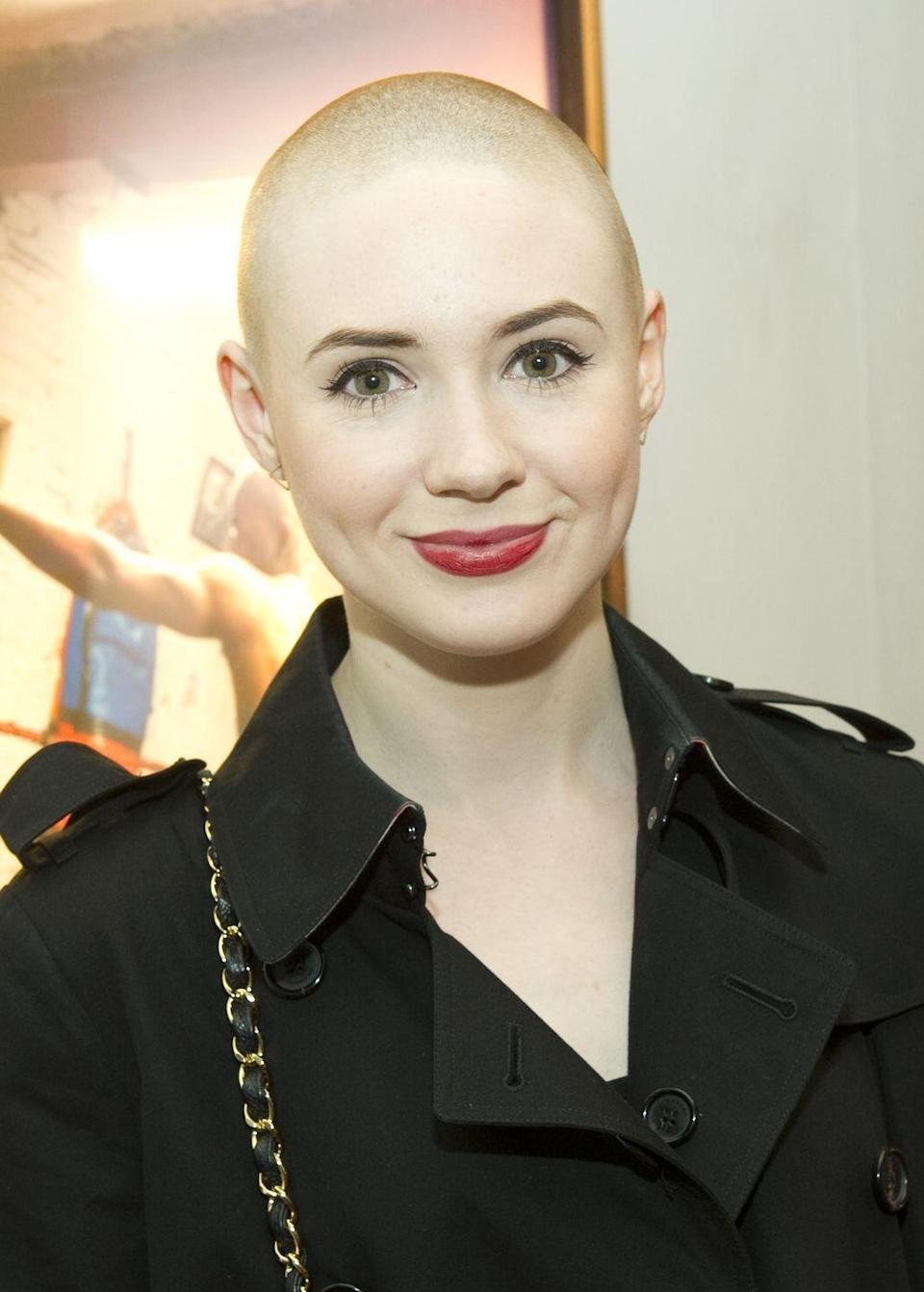 <p>Fans may have figured Karen Gillan was sporting a bald cap under her blue body suit in <em>Guardians of the Galaxy</em>, but no. The actress actually shaved her head for the role and never looked back.  </p>