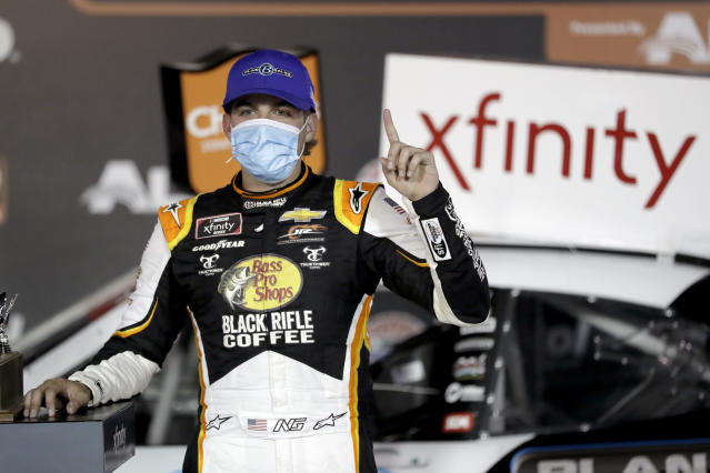Noah Gragson (9) celebrates in victory lane after winning a NASCAR Xfinity Series auto race at Bristol Motor Speedway Monday, June 1, 2020, in Bristol, Tenn. (AP Photo/Mark Humphrey)
