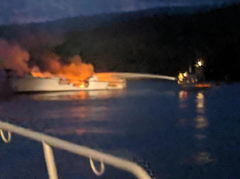 SANTA CRUZ ISLAND, CA - SEPTEMBER 2: In this handout provided by Santa Barbara County Fire Department, the 75-foot Conception, based in Santa Barbara Harbor, burns after catching fire early September 2, 2019 anchored off Santa Cruz Island, California. Thirty-four are missing, while five crew members were rescued, according to published reports. (Photo by Santa Barbara County Fire Department via Getty Images)