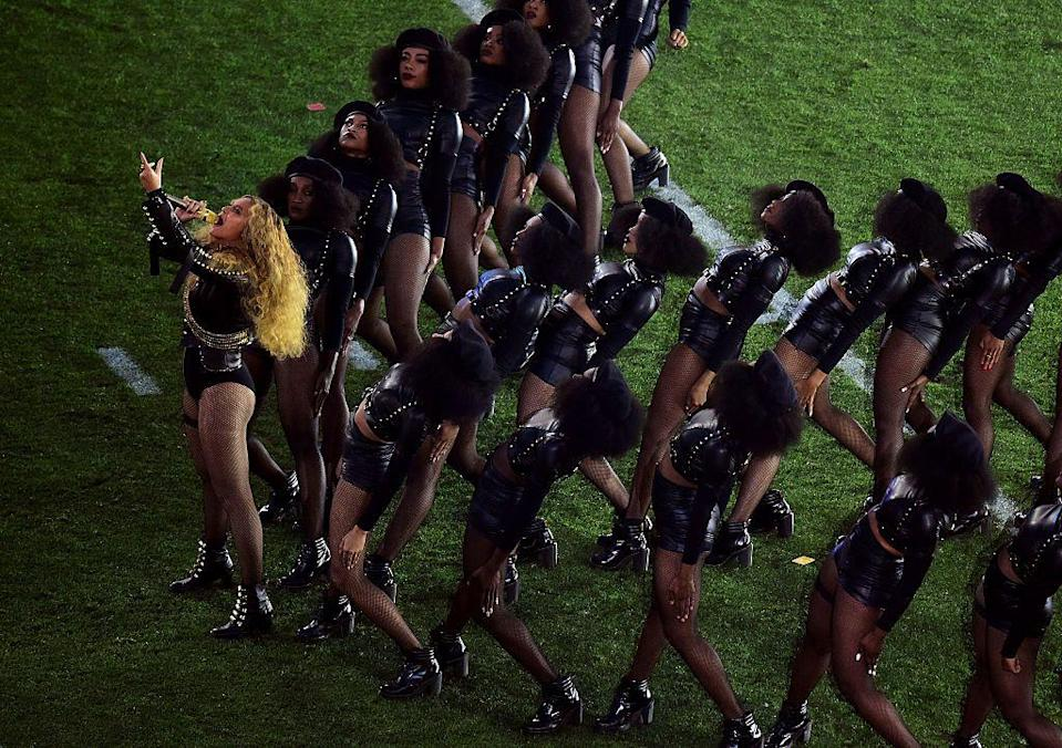 <p>Beyoncé and her dancers wore Black Panther-inspired outfits designed by Zana Bayne.</p>