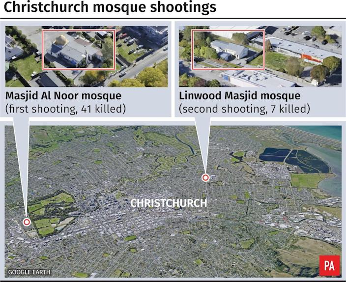 Map of mosque shootings in Christchurch New Zealand. (PA)