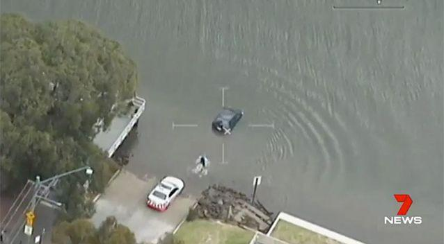 PolAir vision shows the dramatic rescue. Source: 7 News