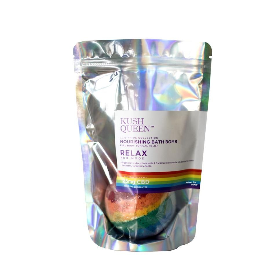 """<h3>Kush Queen</h3><p>Kush Queen, a company that covers all things CBD, is celebrating Pride by releasing its own <a href=""""https://www.kushqueen.shop/product/the-pride-collection/"""" rel=""""nofollow noopener"""" target=""""_blank"""" data-ylk=""""slk:Pride Collection"""" class=""""link rapid-noclick-resp"""">Pride Collection</a>. The limited-edition lineup includes everything from CBD lube to a relaxing, rainbow CBD bath bomb, and 20% of all sales will be donated to the <a href=""""https://www.translifeline.org/"""" rel=""""nofollow noopener"""" target=""""_blank"""" data-ylk=""""slk:Trans Lifeline"""" class=""""link rapid-noclick-resp"""">Trans Lifeline</a>.</p><br><br><strong>Kush Queen</strong> Pride Rainbow CBD Bath Bomb, $12.99, available at <a href=""""https://www.kushqueen.shop/product/pride-rainbow-cbd-bath-bomb/"""" rel=""""nofollow noopener"""" target=""""_blank"""" data-ylk=""""slk:Kush Queen"""" class=""""link rapid-noclick-resp"""">Kush Queen</a>"""