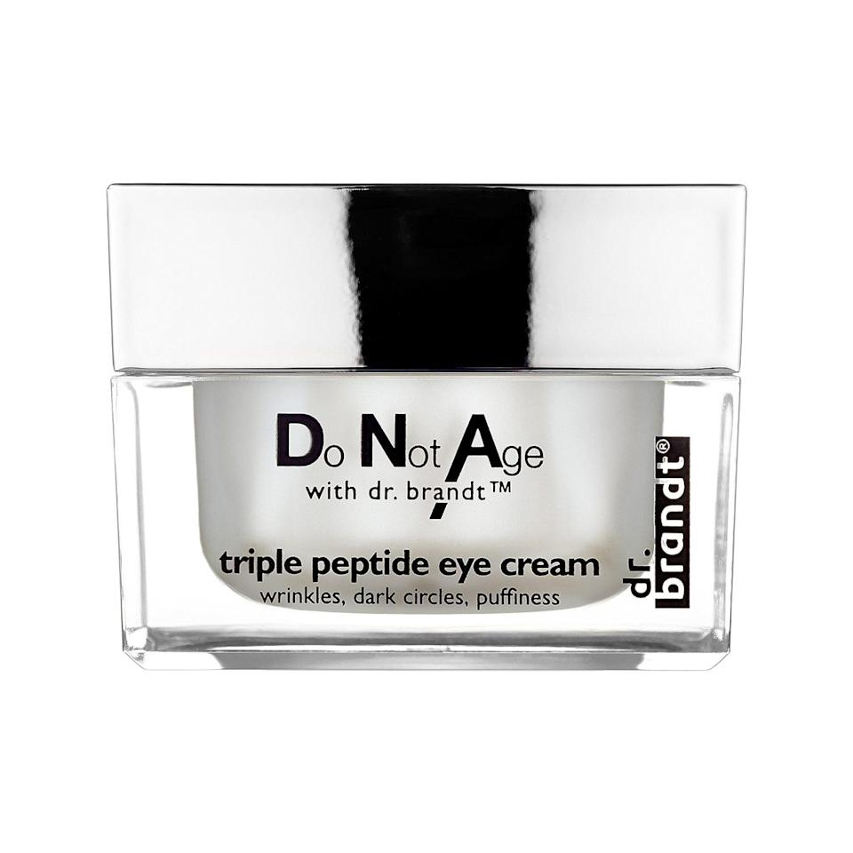 """<p>The triple-peptide complex in this top-rated <a href=""""https://www.popsugar.com/buy/Dr-Brandt-Skincare-Do-Age-Dr-Brandt-Triple-Peptide-Eye-Cream-553528?p_name=Dr.%20Brandt%20Skincare%20Do%20Not%20Age%20With%20Dr.%20Brandt%20Triple%20Peptide%20Eye%20Cream&retailer=sephora.com&pid=553528&price=82&evar1=bella%3Auk&evar9=47275268&evar98=https%3A%2F%2Fwww.popsugar.com%2Fbeauty%2Fphoto-gallery%2F47275268%2Fimage%2F47275274%2FDr-Brandt-Skincare-Do-Not-Age-With-Dr-Brandt-Triple-Peptide-Eye-Cream&list1=shopping%2Csephora%2Ceye%20cream%2Cvitamin%20c%2Cbeauty%20shopping&prop13=api&pdata=1"""" rel=""""nofollow noopener"""" class=""""link rapid-noclick-resp"""" target=""""_blank"""" data-ylk=""""slk:Dr. Brandt Skincare Do Not Age With Dr. Brandt Triple Peptide Eye Cream"""">Dr. Brandt Skincare Do Not Age With Dr. Brandt Triple Peptide Eye Cream</a> ($82) includes vitamin C polypeptides to boost skin's elasticity and limit the look of dark circles. Several Sephora shoppers also note how well it hydrates the undereye area without leaving it greasy.</p>"""