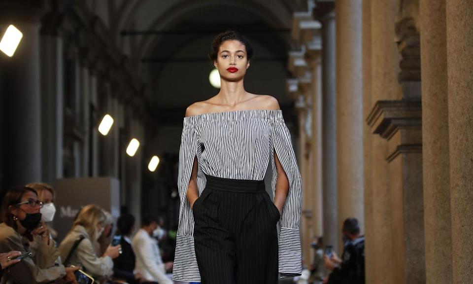 A model on the catwalk for the Max Mara show in Milan.