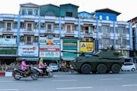 Military armoured vehicles were seen along streets in Myitkyina, Kachin State