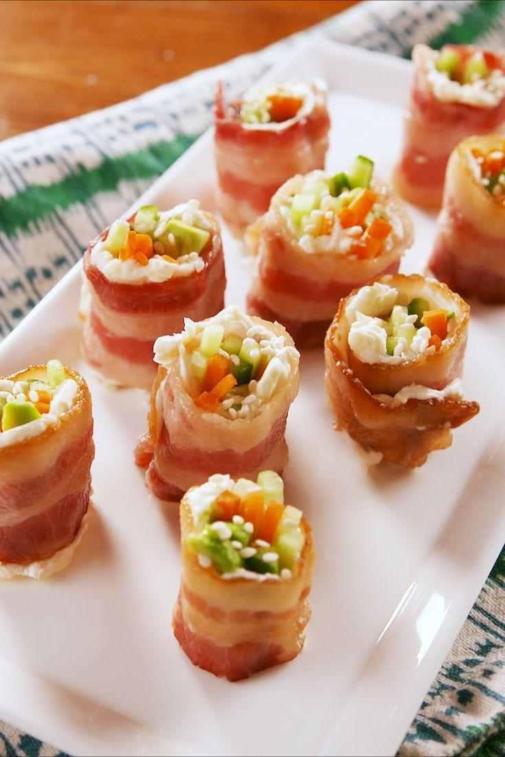 """<p>This sushi is salty, creamy, crunchy, and won't weigh you down. We went for carrots, cucumbers, and avocado for our filling, but the options are endless. </p><p>Get the recipe from <a href=""""https://www.delish.com/cooking/recipe-ideas/a26409980/keto-bacon-sushi-recipe/"""" rel=""""nofollow noopener"""" target=""""_blank"""" data-ylk=""""slk:Delish"""" class=""""link rapid-noclick-resp"""">Delish</a>.</p>"""