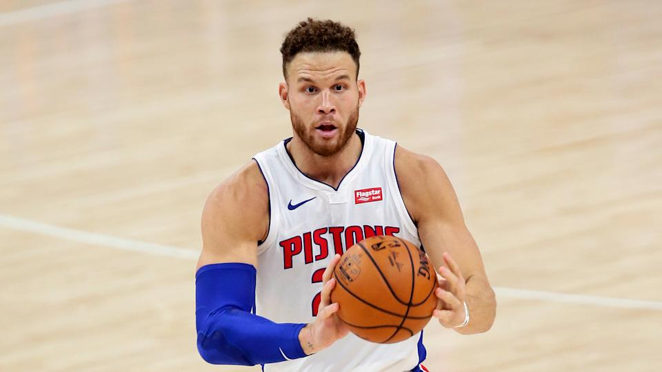 Detroit Pistons forward Blake Griffin passes the ball during the first half of an NBA basketball game against the New York Knicks Sunday, Dec. 13, 2020, in Detroit. (AP Photo/Duane Burleson)