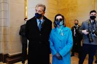 <p>Speaker of the House Nancy Pelosi picked a monochrome turquoise overcoat and scarf to mark the inauguration of Joe Biden as the 46th president of the United States on January 20, 2021. </p>
