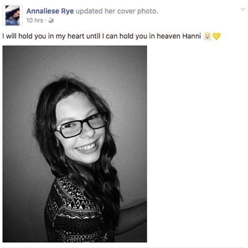 Hannah's sister Annaliese posted a touching tribute online. Photo: Facebook