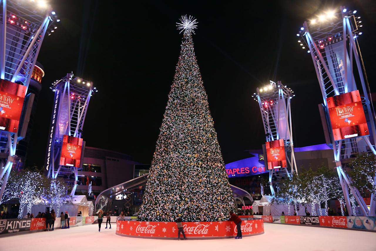 The Holiday Tree is seen at the 5th annual Holiday Tree Lighting at L.A. Live and opening of LA Kings Holiday Ice on Wednesday, Nov. 28, 2012, in Los Angeles. (Photo by Matt Sayles/Invision for AEG/AP Images)