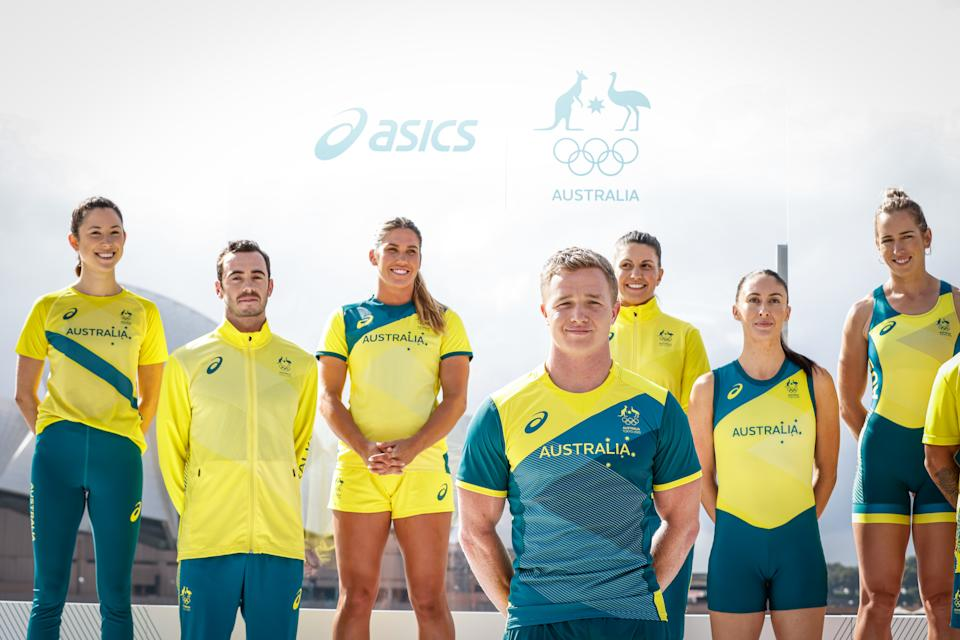 Australian athletes pose during the Australian Olympic Team Tokyo 2020 uniform unveiling at the Overseas Passenger Terminal on March 31, 2021 in Sydney, Australia.