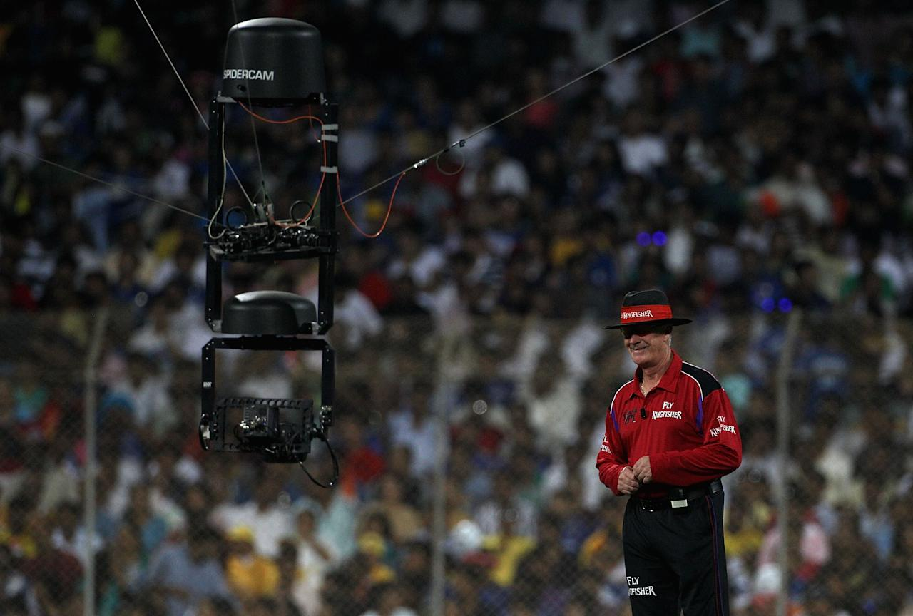 NAVI MUMBAI, INDIA - APRIL 25:  Spidercam gets up close with umpire Rudi Koertzen during the 2010 DLF Indian Premier League T20 Final between Mumbai Indians and Chennai Super Kings played at DY Patil Stadium on April 25, 2010 in Navi Mumbai, India.  (Photo by Hamish Blair-IPL 2010/IPL via Getty Images)