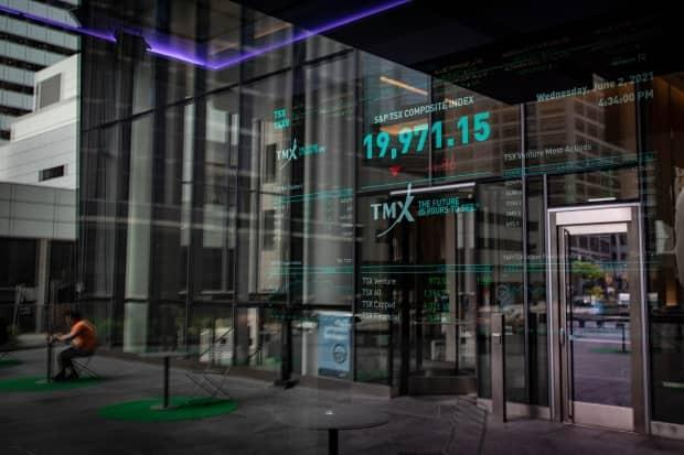 The Toronto Stock Exchange is pictured today. The S&P/TSX composite index topped the 20,000-point level for the first time ever this week before closing at 19,971 on Wednesday afternoon.  (Evan Mitsui/CBC - image credit)